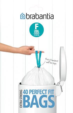 Søppelposer F, 20 Ltr Slimline (Dispenser Pakk med 40 poser) White