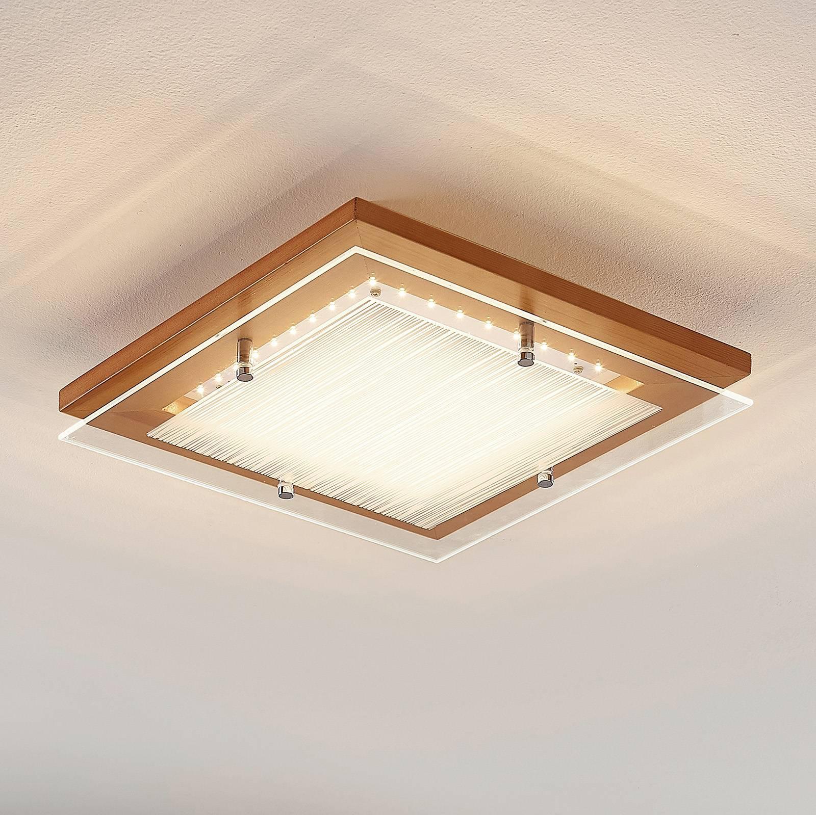 LED-taklampe Cattleya, i tre, 32 cm