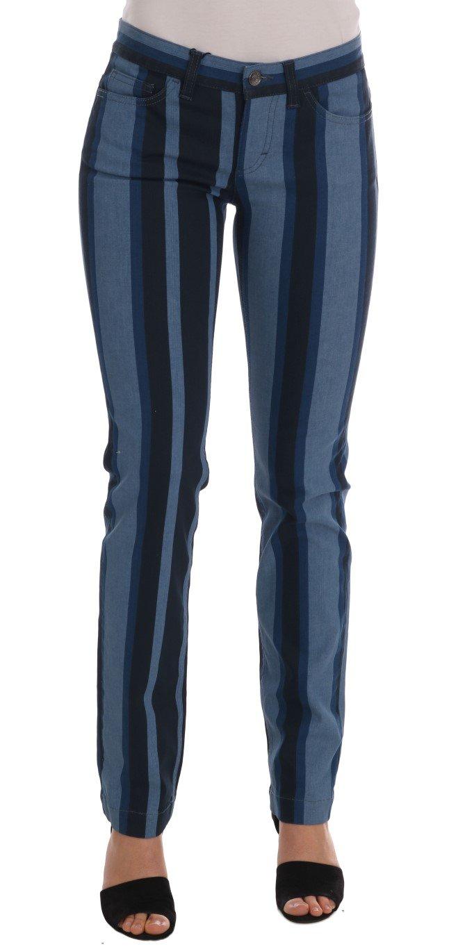 Dolce & Gabbana Women's GIRLY Striped Cotton Jeans Blue BYX1206 - IT36 | XS