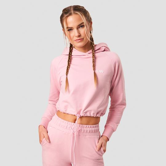 Adjustable Cropped Hoodie, Pink