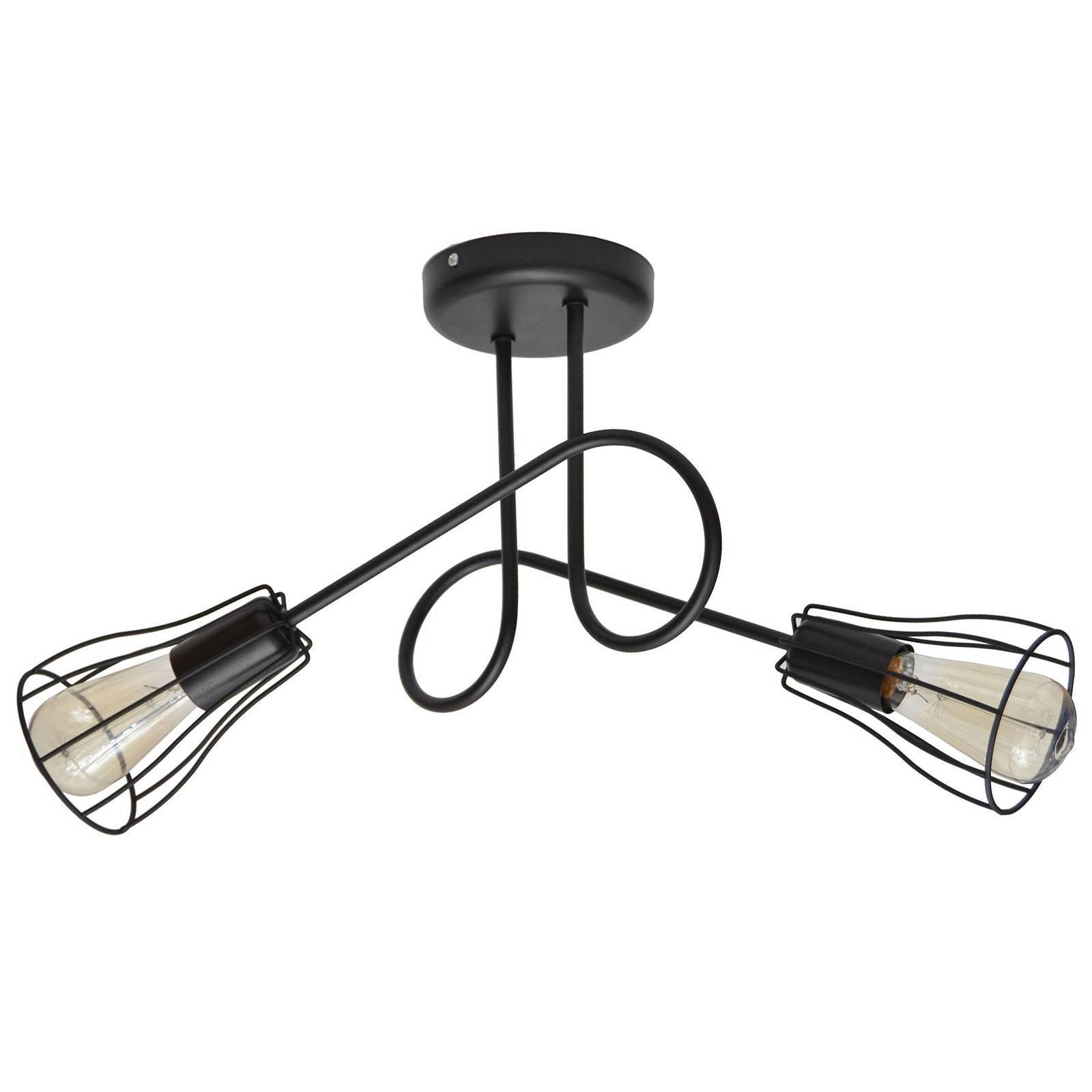 Taklampe Oxford, 2 lyskilder med burskjermer svart
