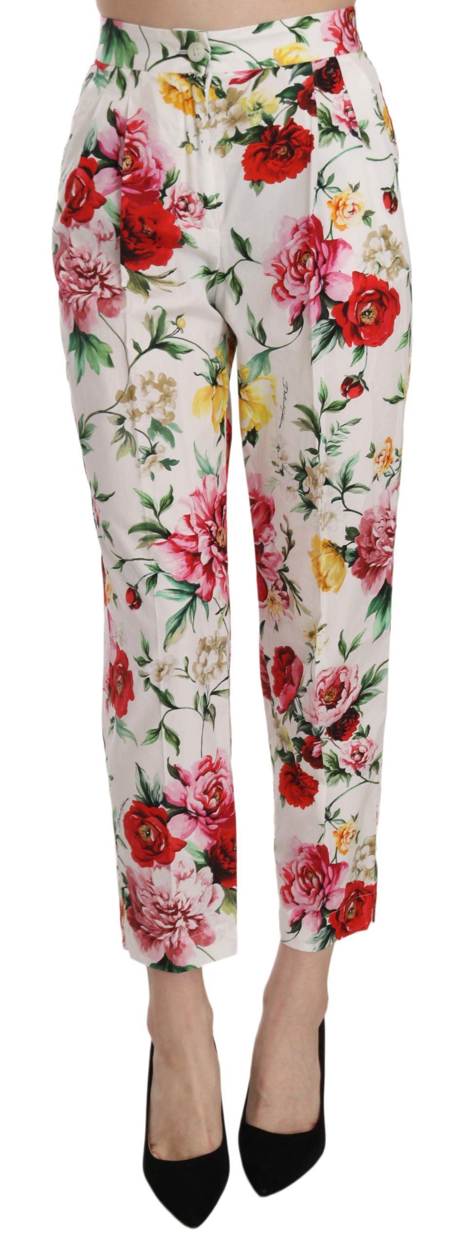 Dolce & Gabbana Women's Floral Cotton Cropped Trousers White PAN70275 - IT36 | XS