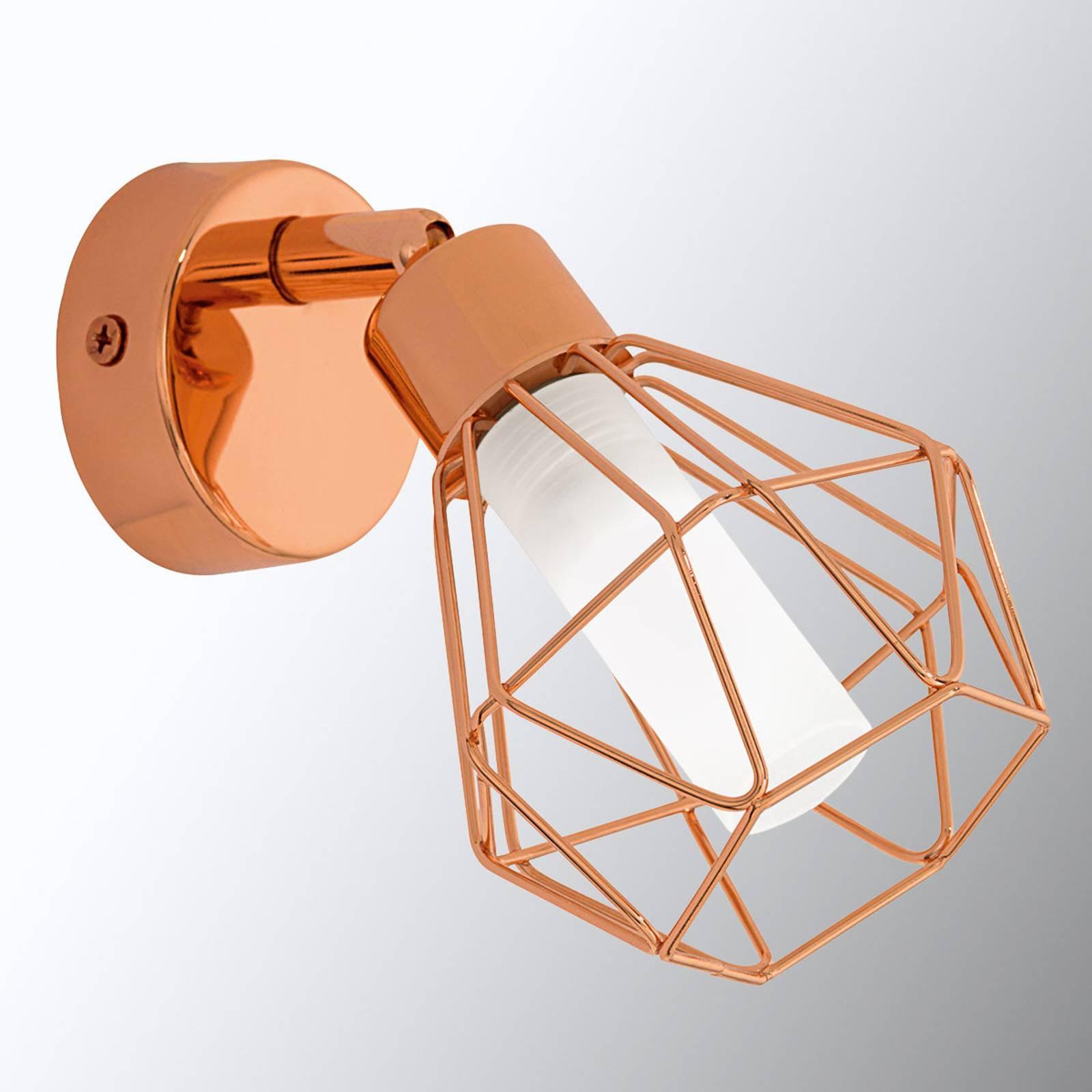 Kobberfarget LED-vegglampe Zapata i burstil