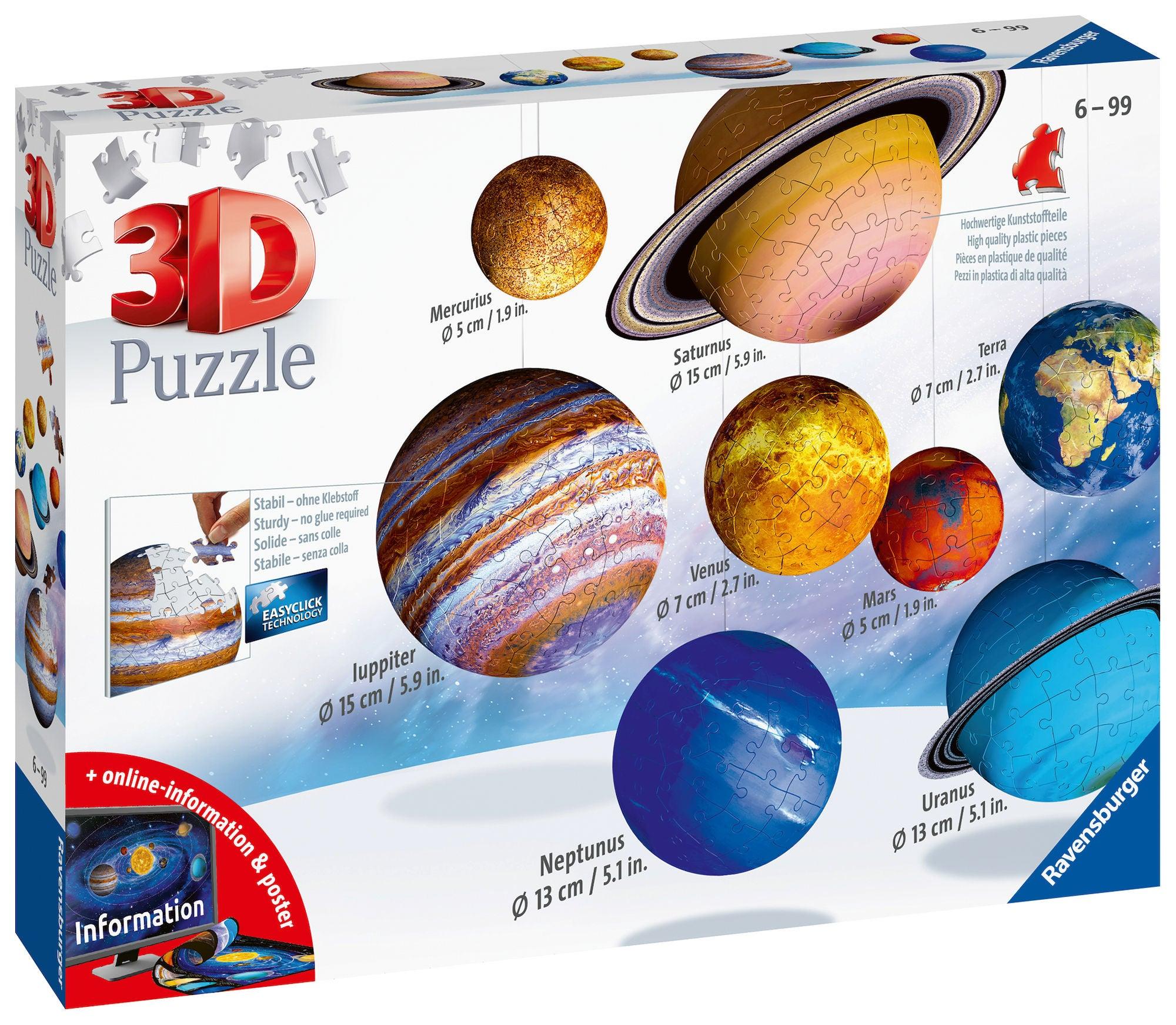 Ravensburger Solar System 3D-Palapeli 27, 54, 72, 108