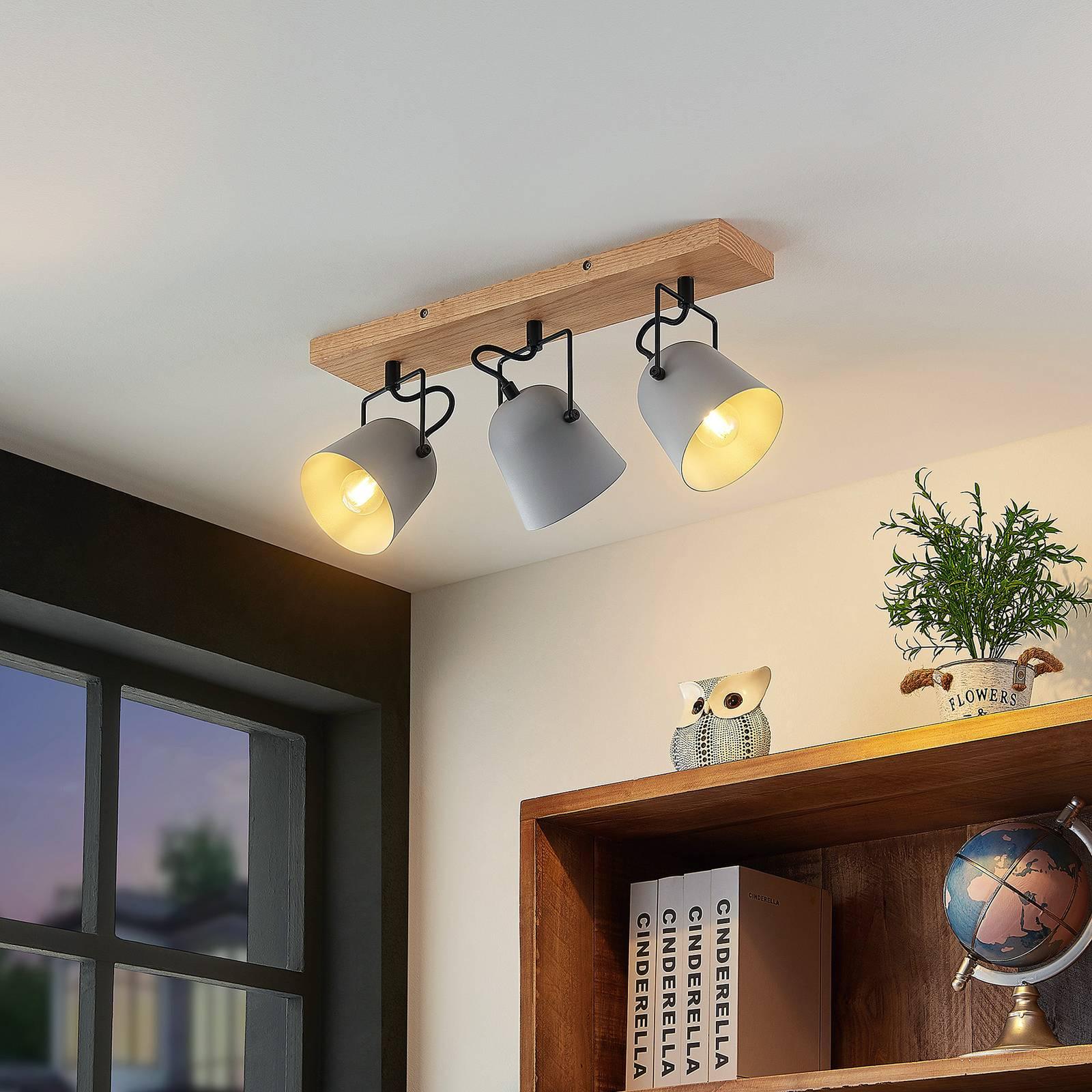 Lindby Adalin -kattovalaisin, 3-lamppuinen, harmaa