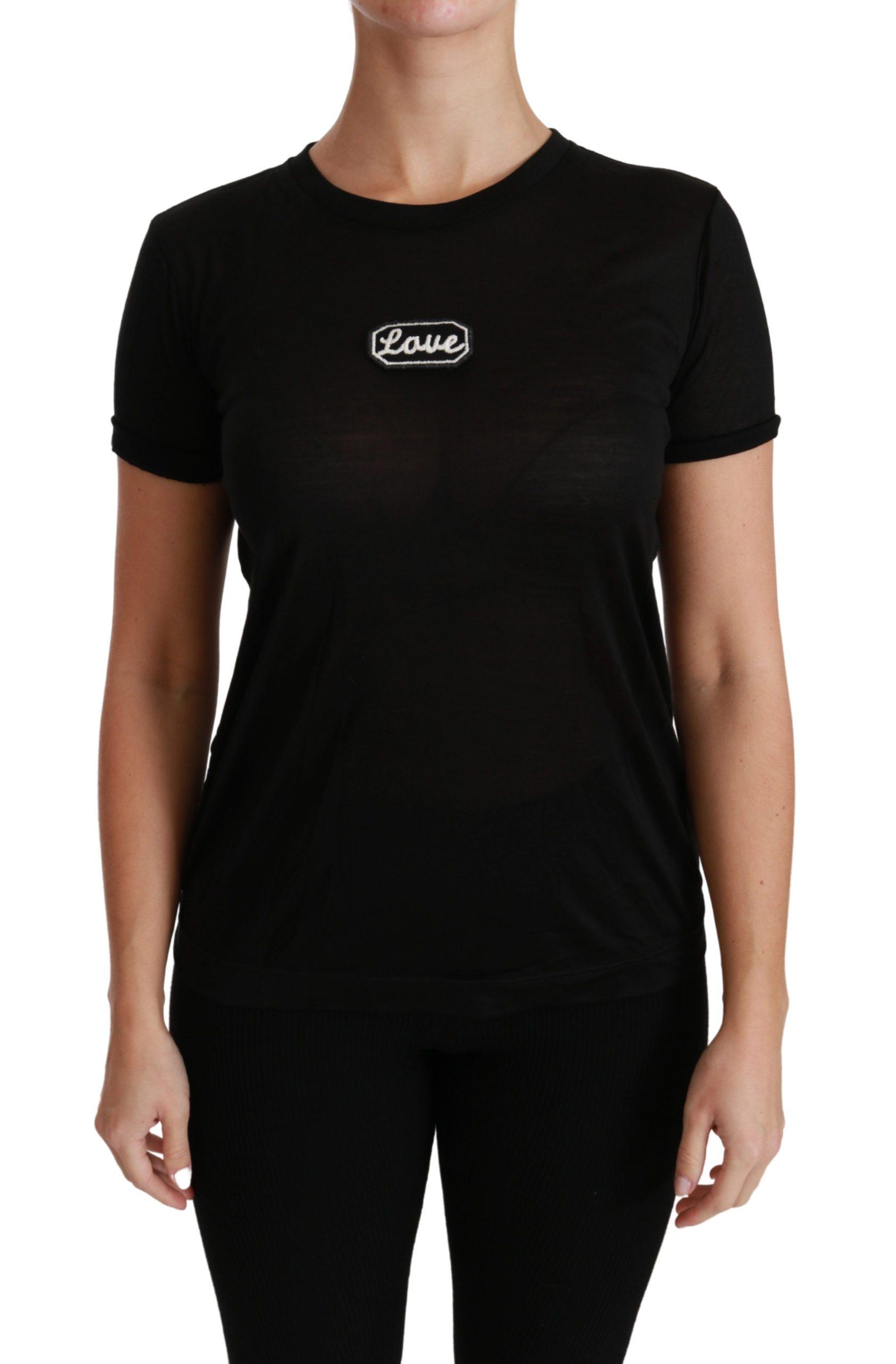 Black Love Short Sleeve Top Silk T-shirt - IT46|XL