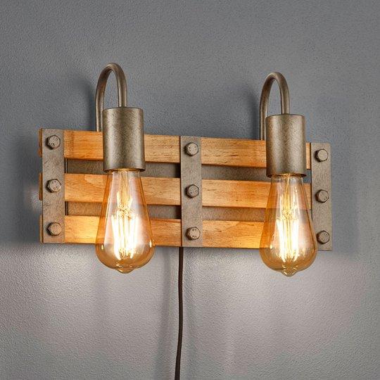 Vegglampe Khan vintage, kabel + plugg, 2 lyskilder