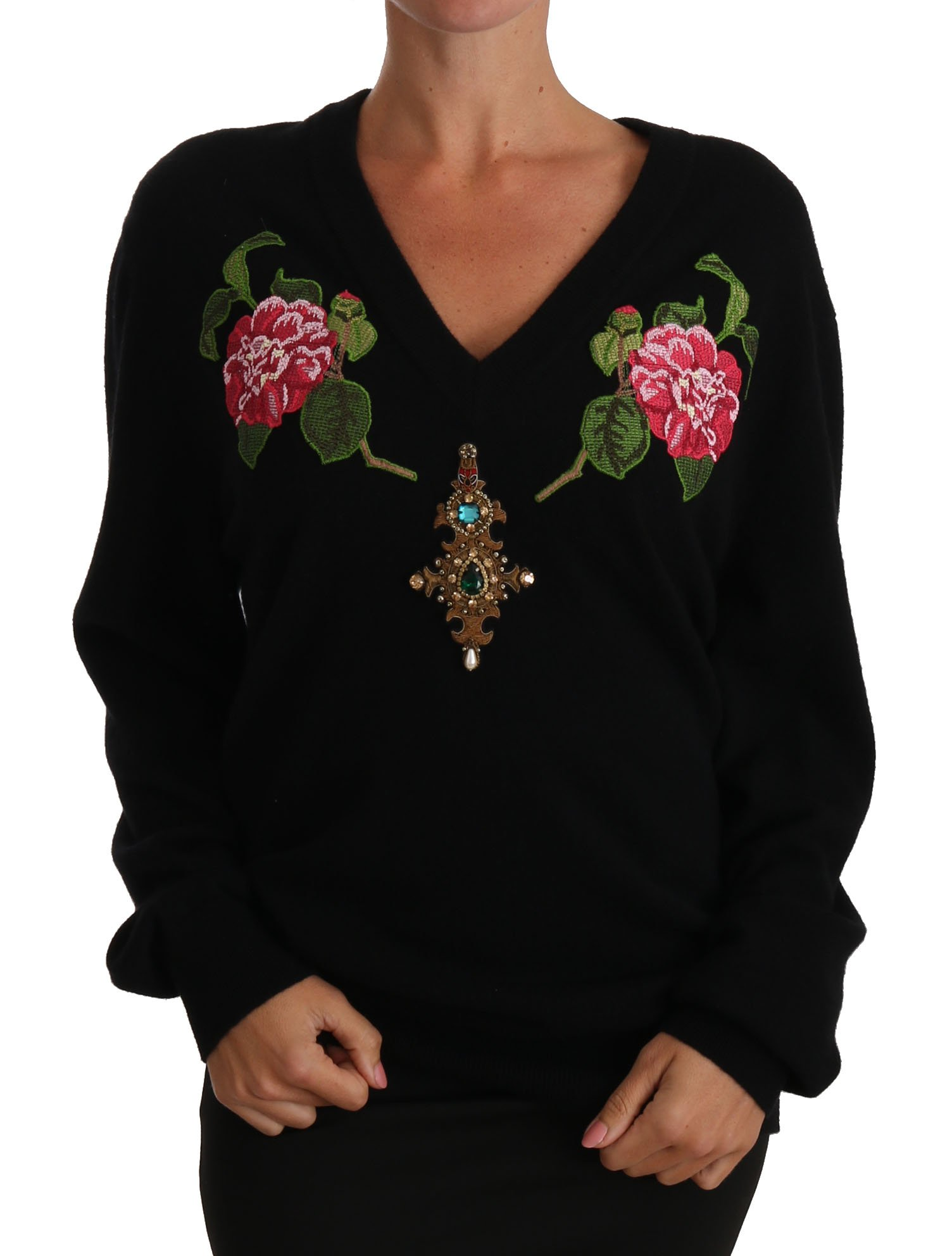 Dolce & Gabbana Women's Rose Floral Crystal Cashmere Sweater Black TSH2768 - IT40|S