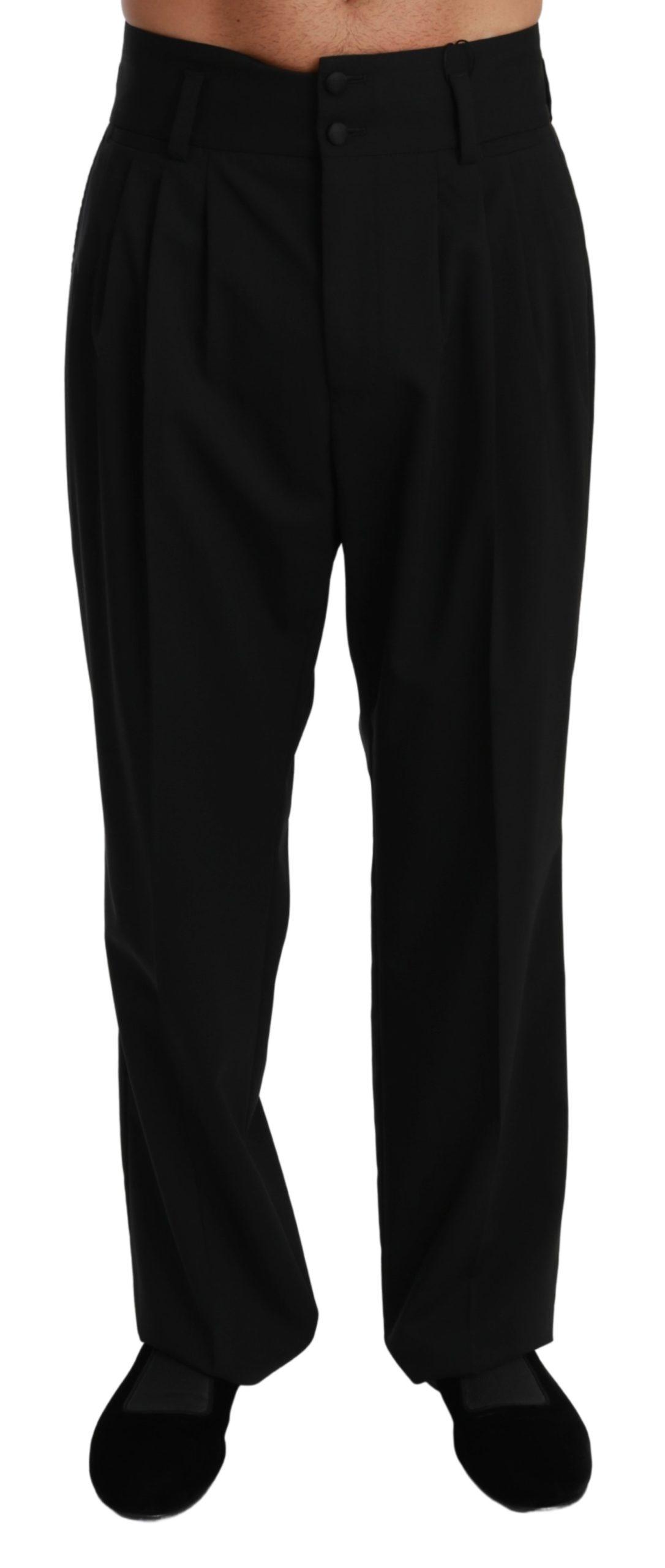 Dolce & Gabbana Men's Formal Dress Wool Trouser Black PAN71014 - IT48 | M