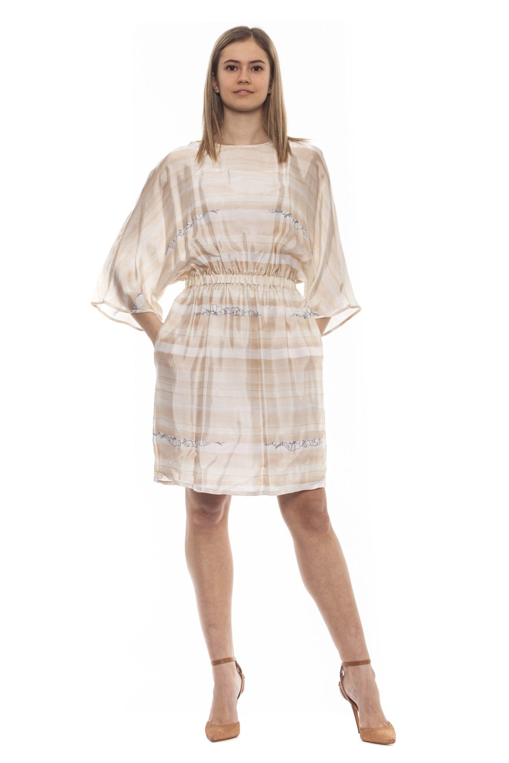 Peserico Women's Bianco Dress Beige PE1383232 - IT42 | S