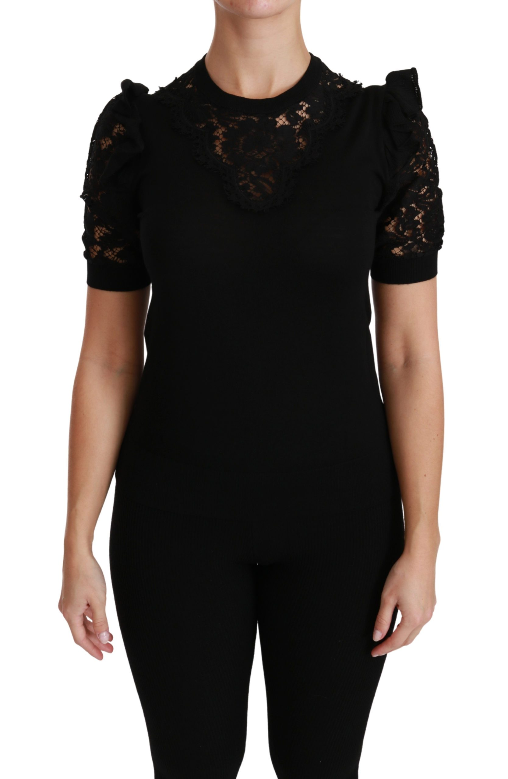 Dolce & Gabbana Women's Crewneck Short Sleeve Top Black TSH4439 - IT50 | XXL