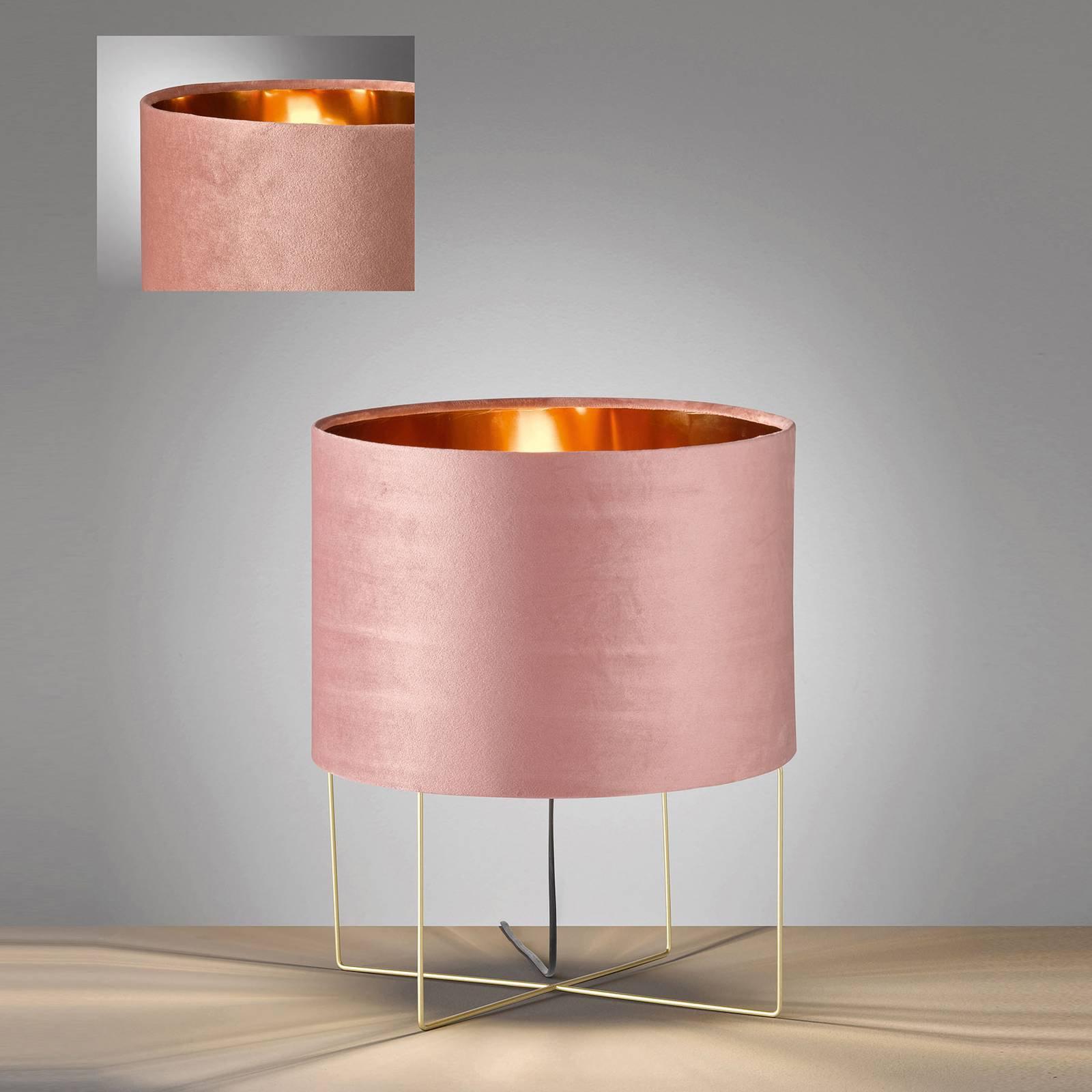 Bordlampe Aura, fløyelsskjerm, høyde 43 cm, rosa