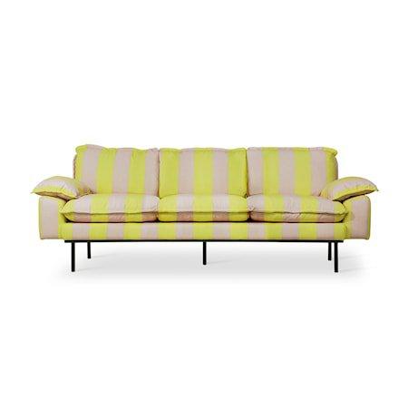 Retro Sofa 3-seter Striped yellow/Nude