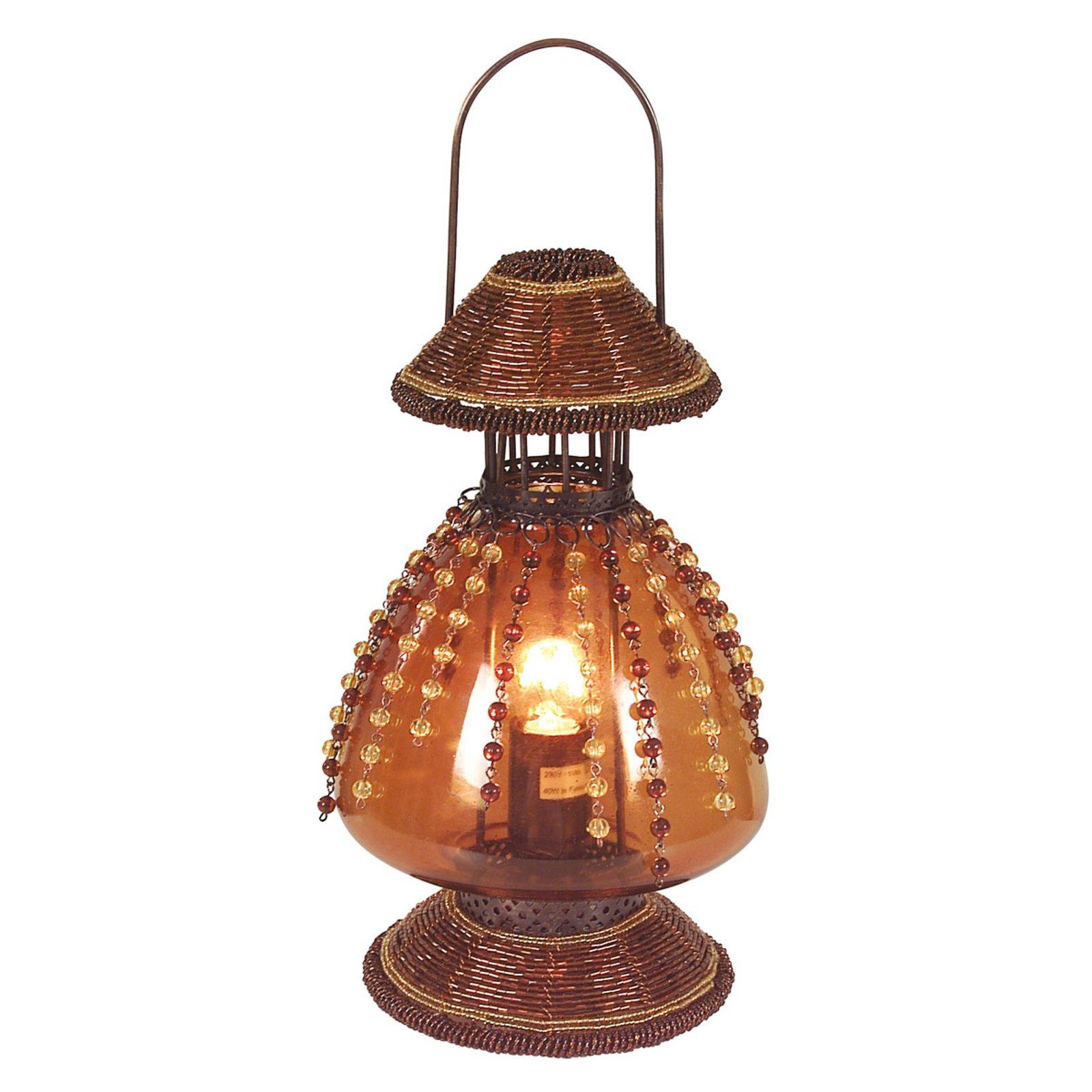 Bordlampe Perla som parafinlampe, rustbrun