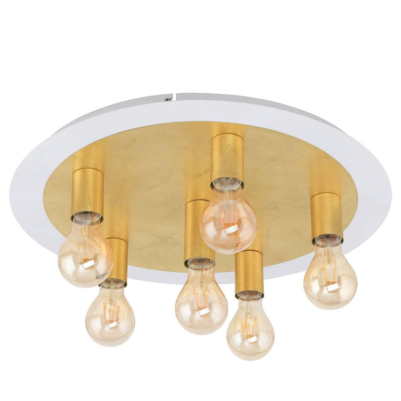 LED-taklampe Passano 6 lyskilder gull