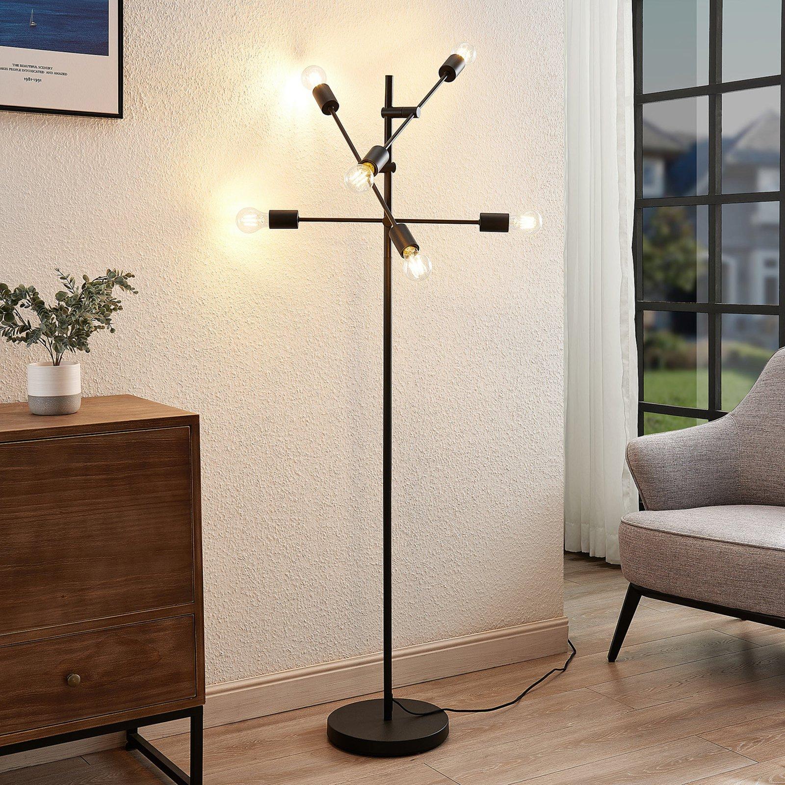 Lindby Estar gulvlampe av metall, seks lyskilder
