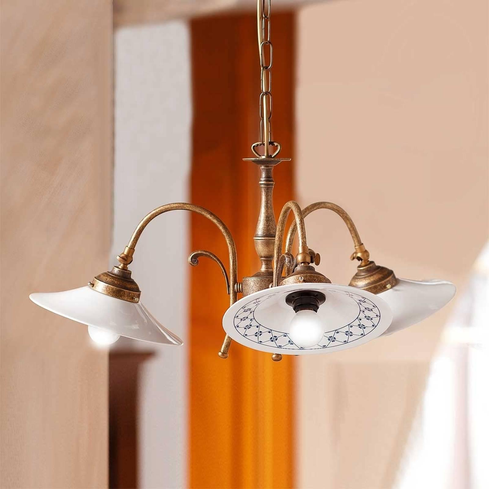 3-lamppuinen riippuvalaisin Orlo, maalaistyyli