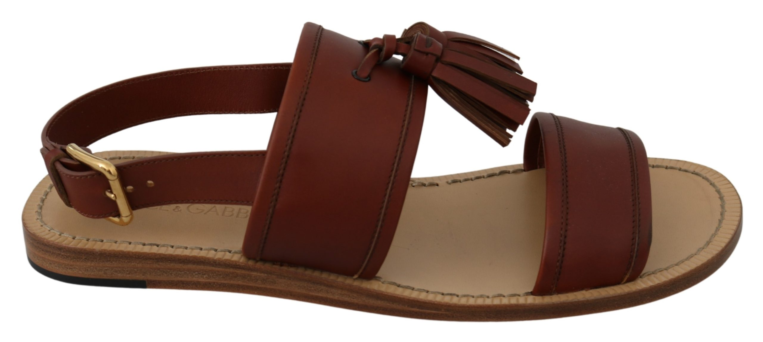 Dolce & Gabbana Men's Leather Buckle Sandal Brown MV3030 - EU43/US10