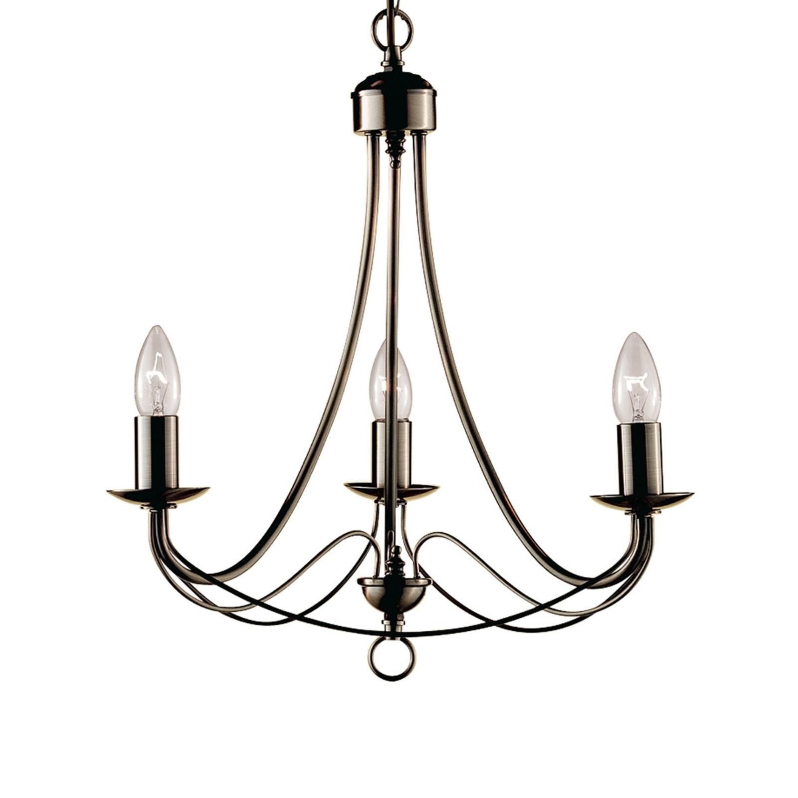 3-lamppuinen tyylikäs MAYPOLE-kattokruunu