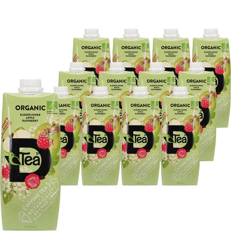 Luomu Teejuomat Elderflower, Apple & Raspberry 12kpl - 78% alennus