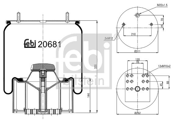 Metallipalje, ilmajousitus FEBI BILSTEIN 20681