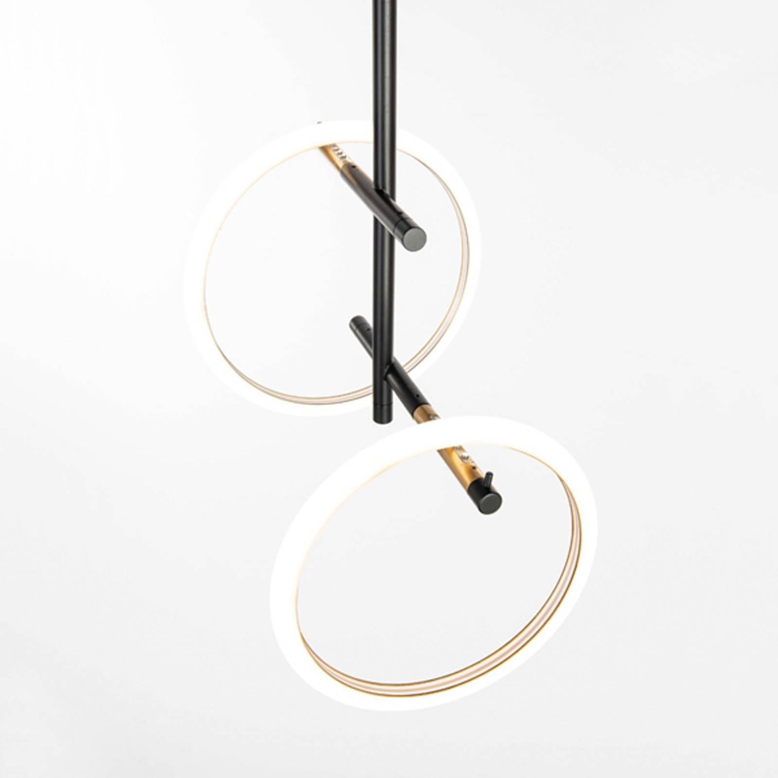 LED-kattovalaisin Ulaop, kaksi rengasta, musta