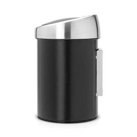 Touch Bin (til vegg) med mattbørstet stållokk, plastinnerbøtte 3 L Svart
