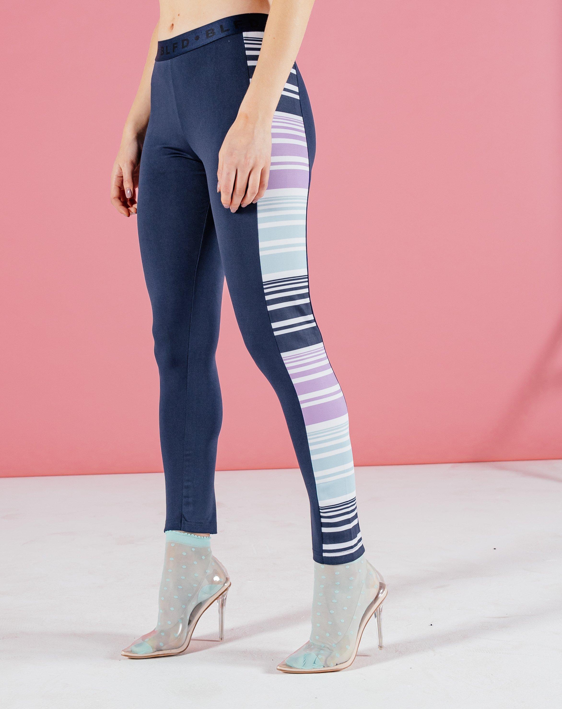 Wayo Women's Striped Panelled Leggings - Navy / 8