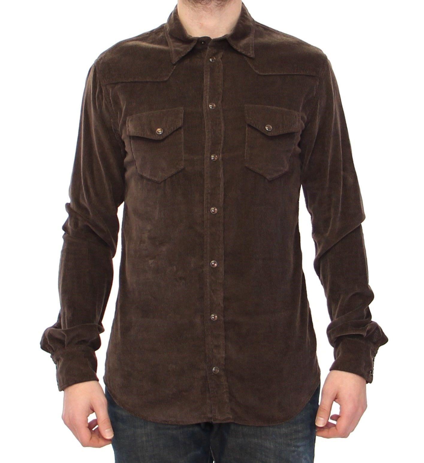 Dolce & Gabbana Men's Manchester Casual Shirt Brown GRH10251 - 40