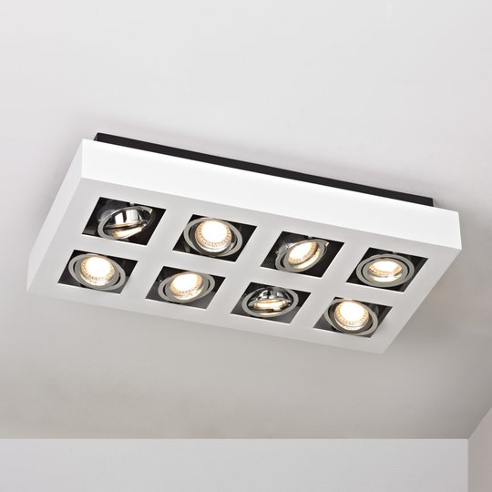 8-lamppuinen LED-kattovalaisin Vince valkoisena