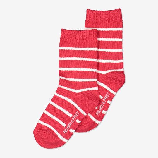 2-pakning stripete sokker barn rød
