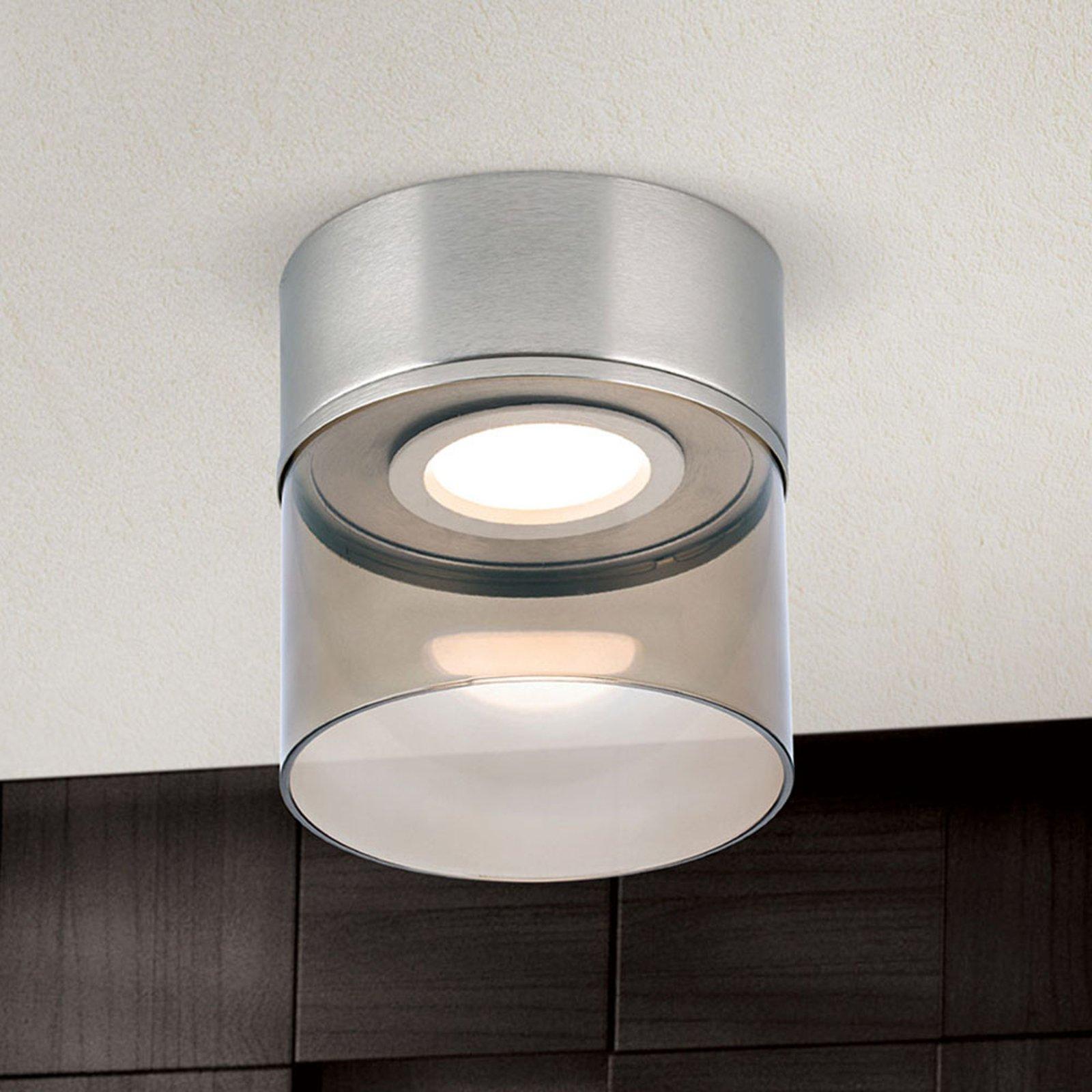 LED-taklampe Francis nikkel matt Ø 15 cm