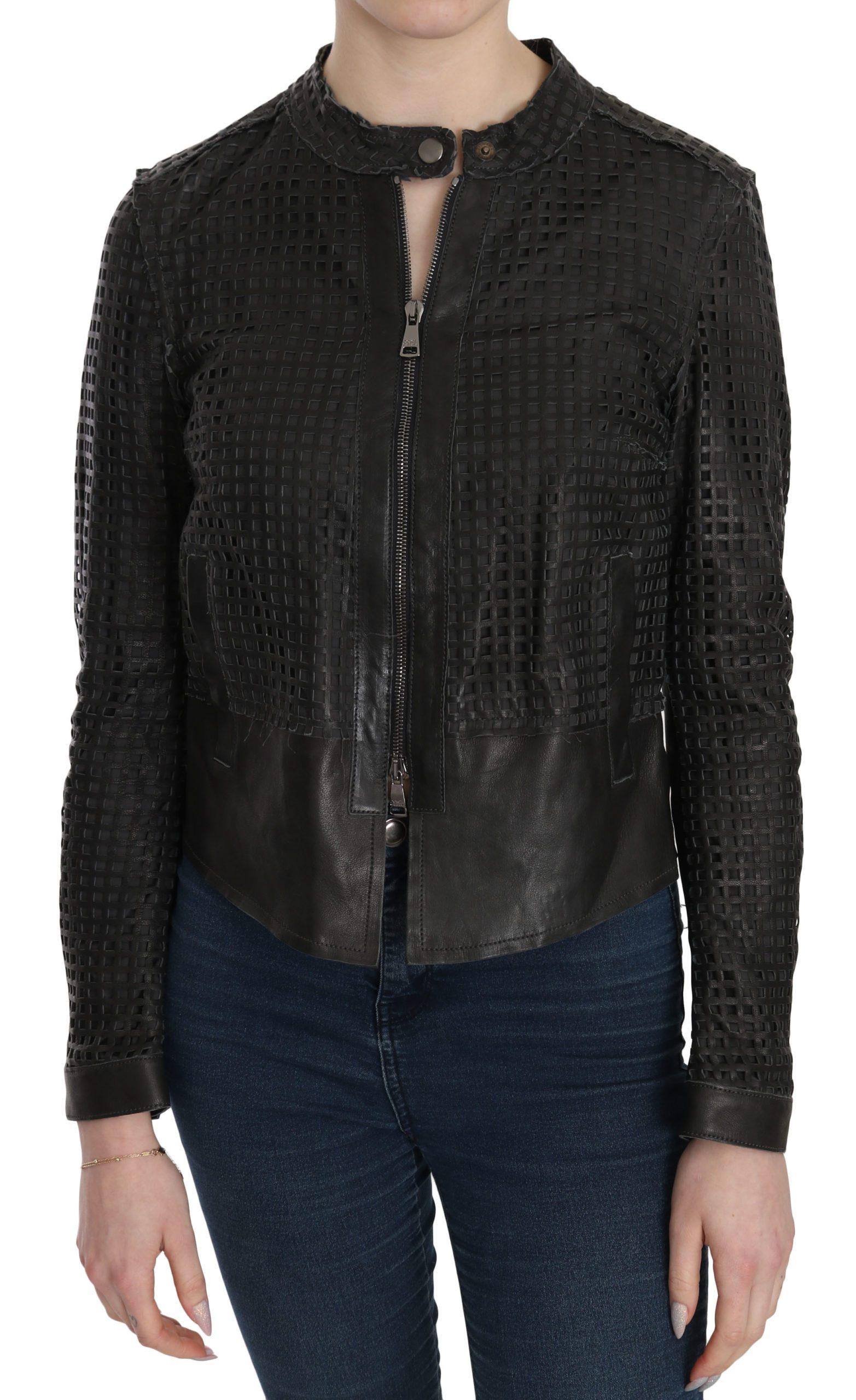 Dolce & Gabbana Women's Leather Cutout Biker Jacket Black TSH3598 - IT40|S