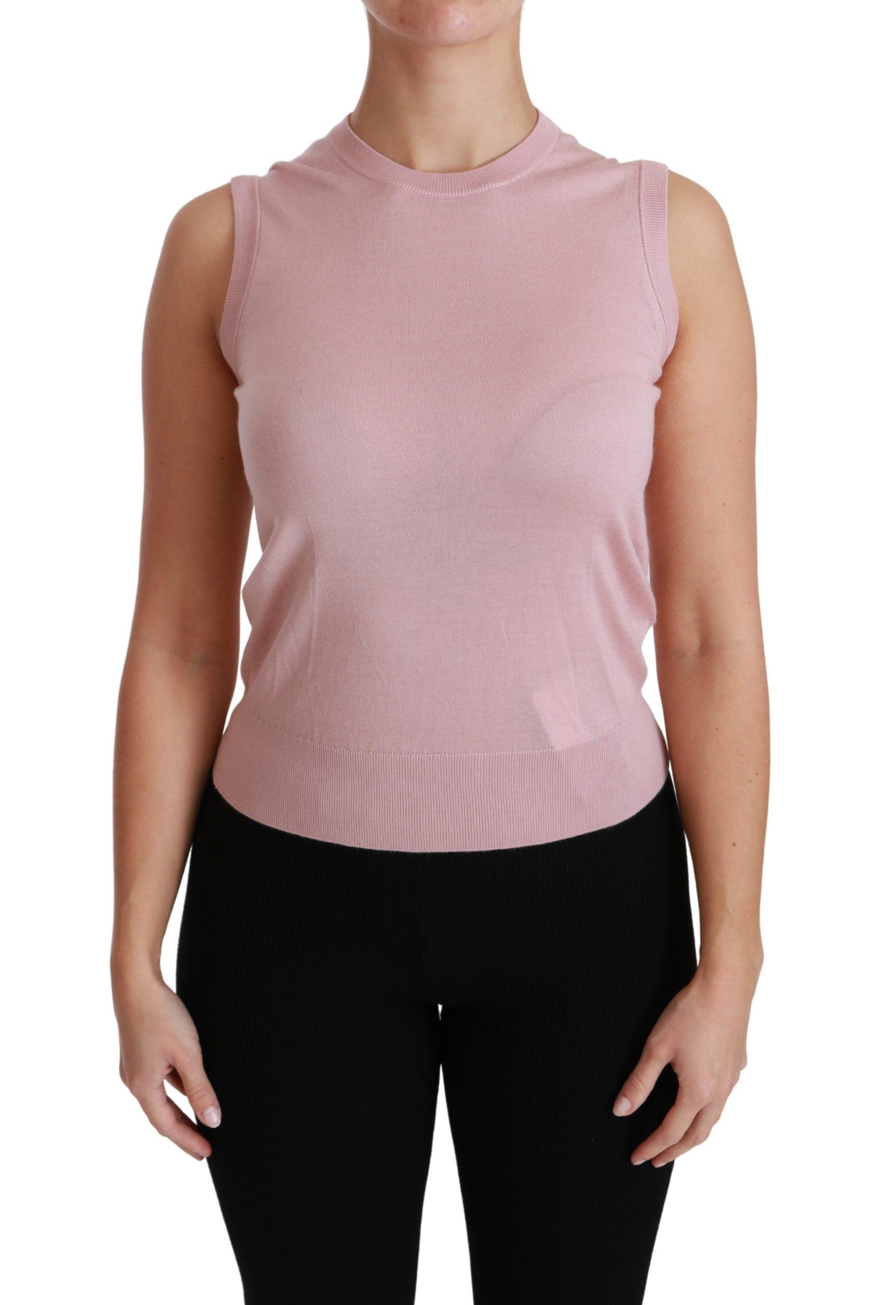 Dolce & Gabbana Women's Cashmere Sleeveless Top Pink TSH4443 - IT38|XS