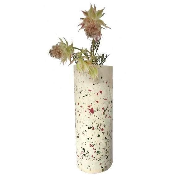 White & Olive Terrazzo Vase