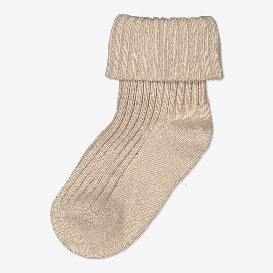 Ensfargede sokker baby beige
