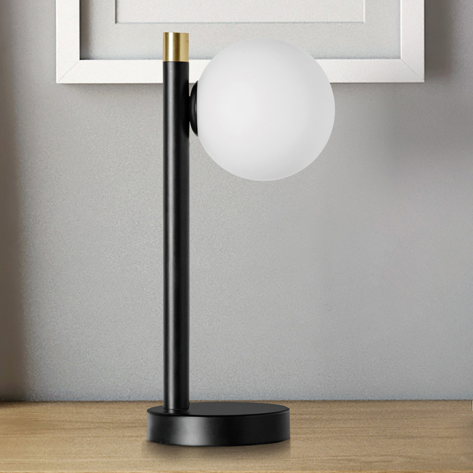 Pöytälamppu Pomì yksilamppuinen, lasipallo