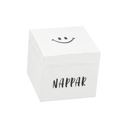 Trälåda Nappar Smiley 13x13 cm