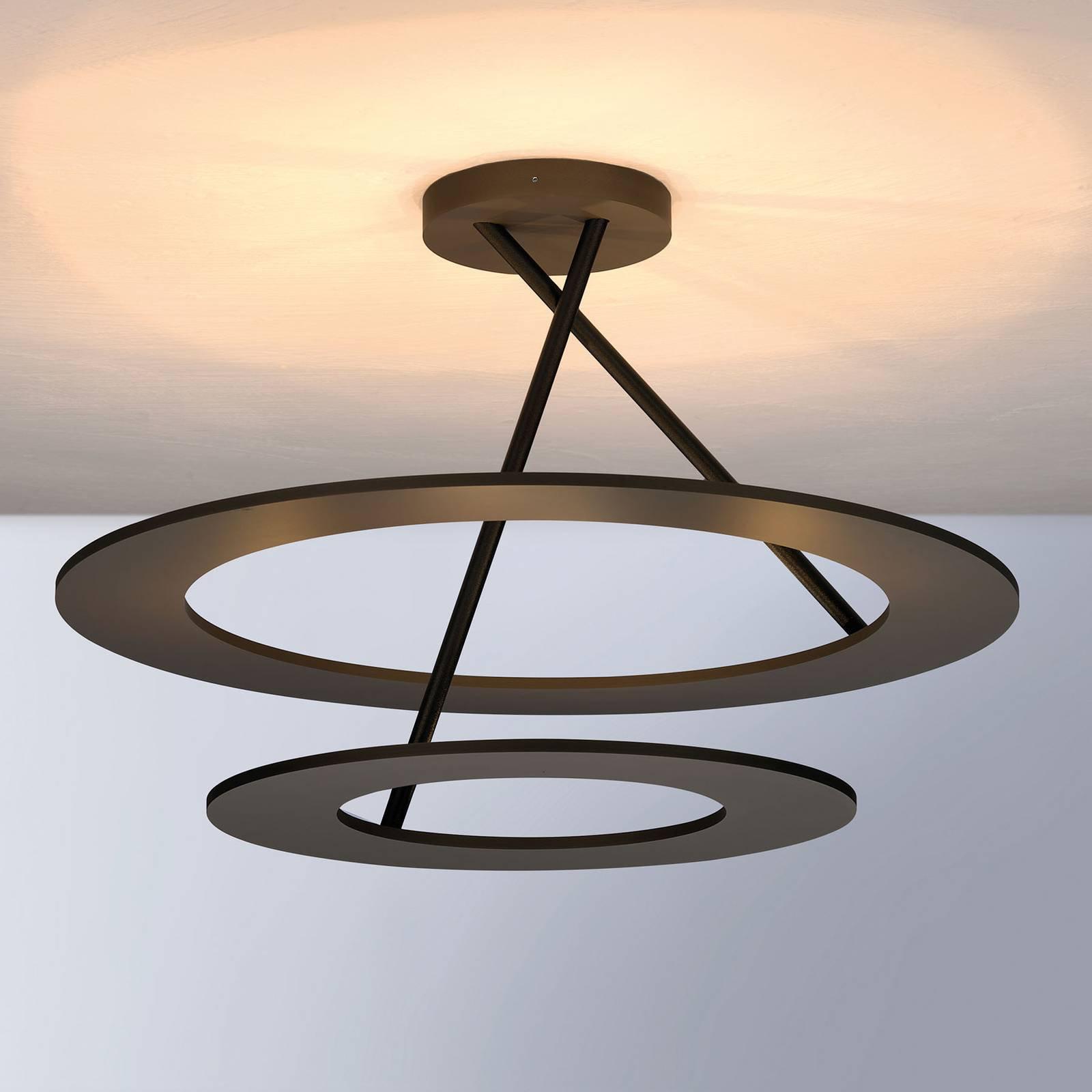 Bopp Stella LED-taklampe 2 ringer, bronse/svart