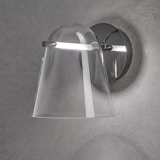 Prandina Sino W3 LED-vegglampe klar/svart krom