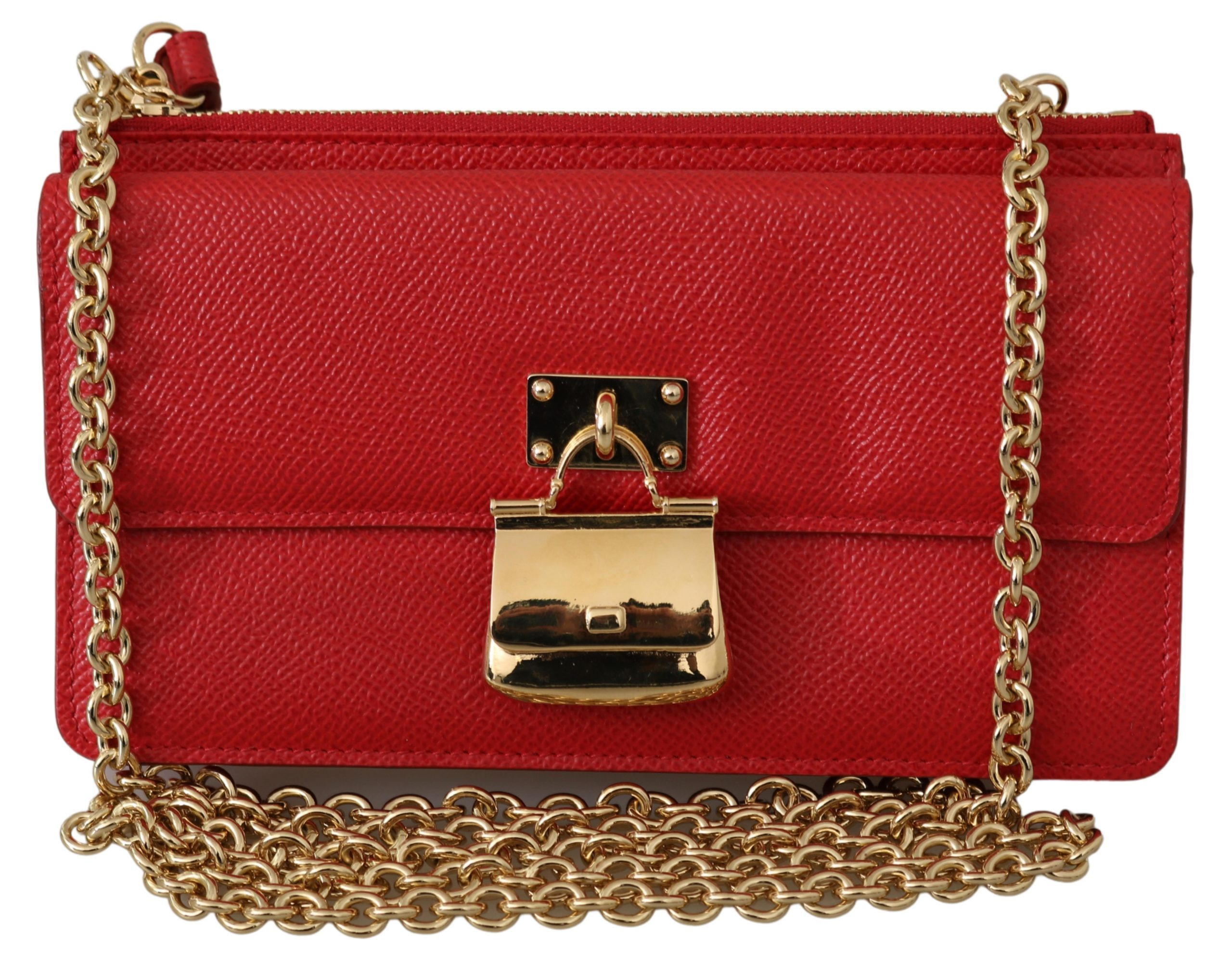 Dolce & Gabbana Women's Chain Leather Shoulder Bag Gold VAS9536