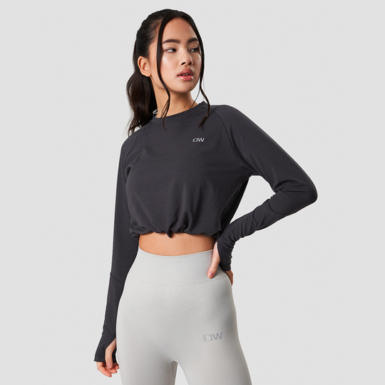 Define Cropped Adjustable Long Sleeve, Graphite