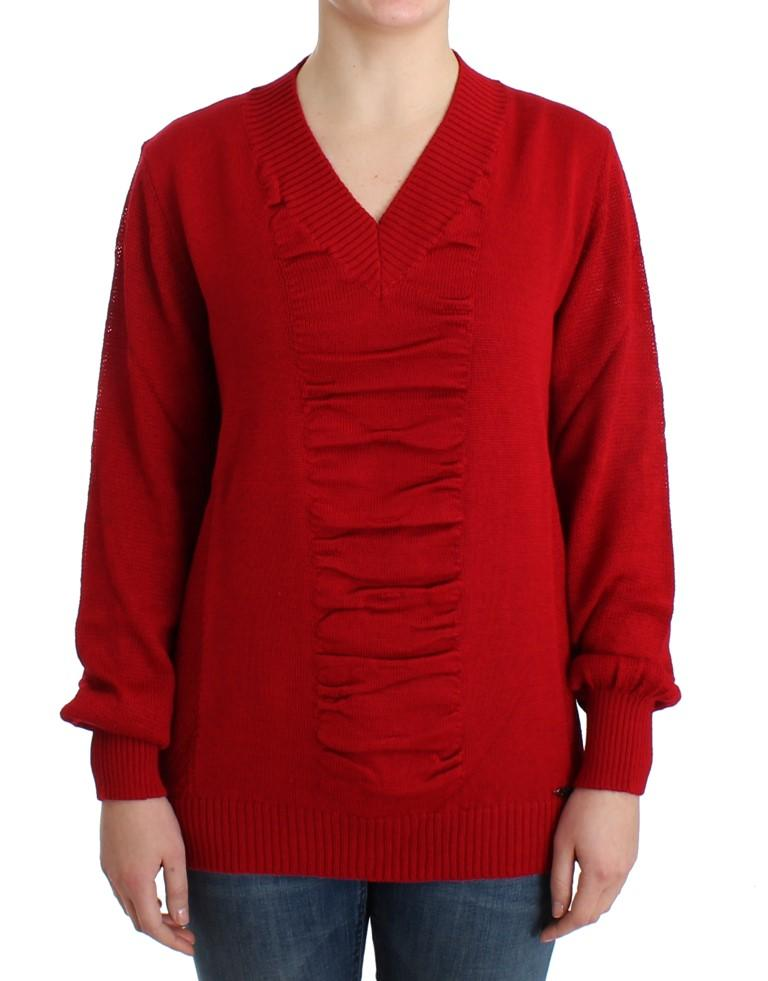 Costume National Women's V-neck Wool Sweater Red SIG12084 - L