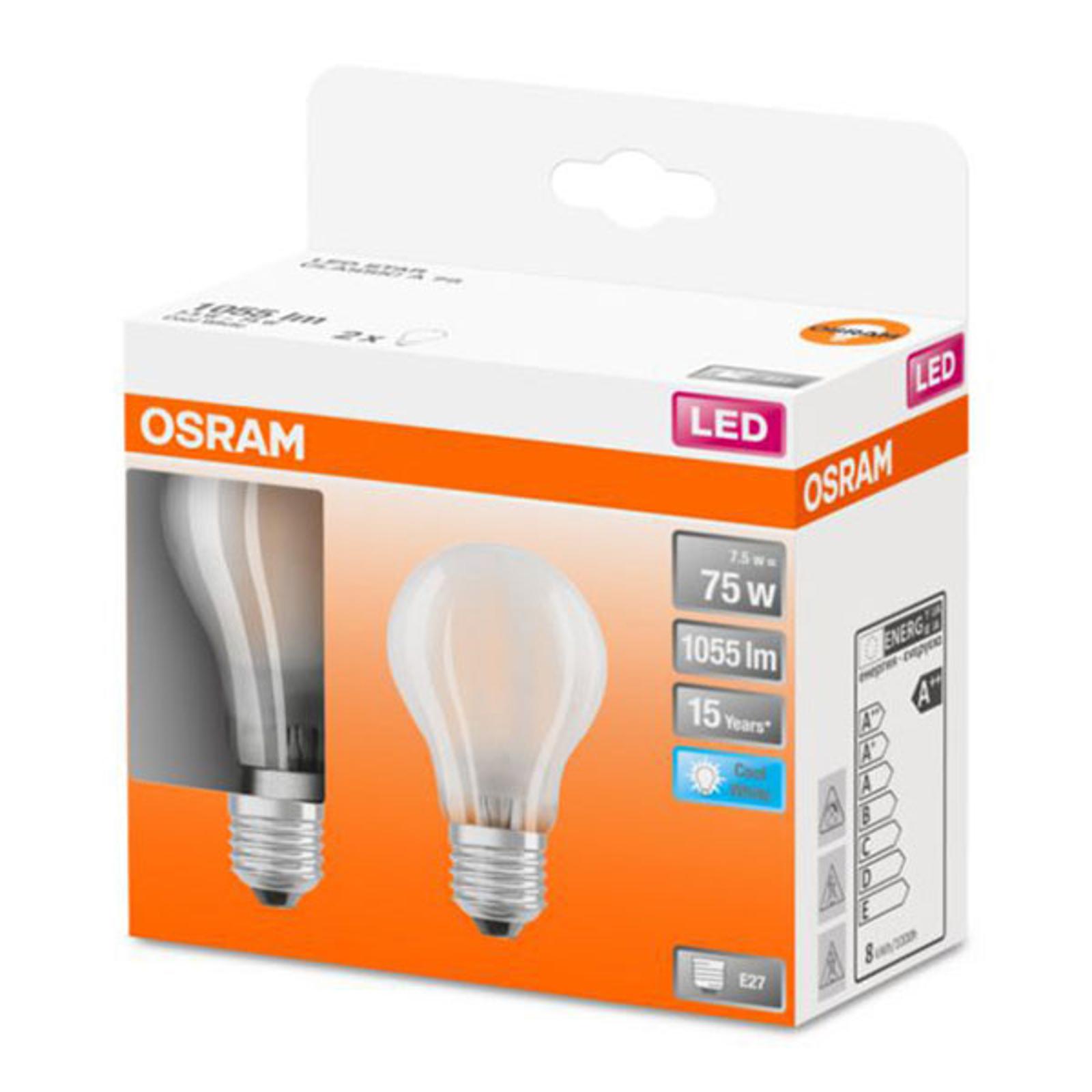 OSRAM Classic A -LED-lamppu E27 7,5W 4 000 K 2 kpl