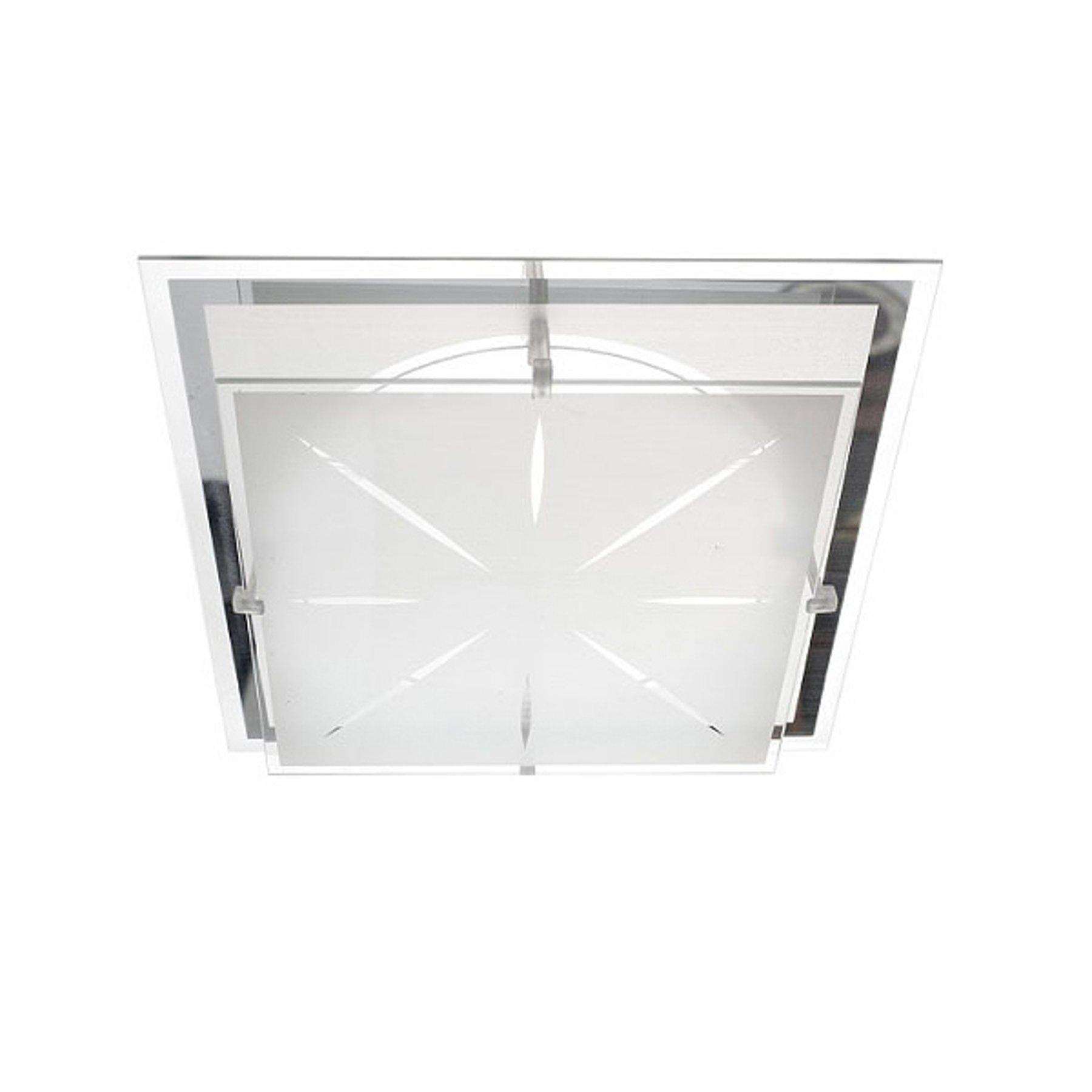 Taklampe P2 av glass 31,5x31,5 cm