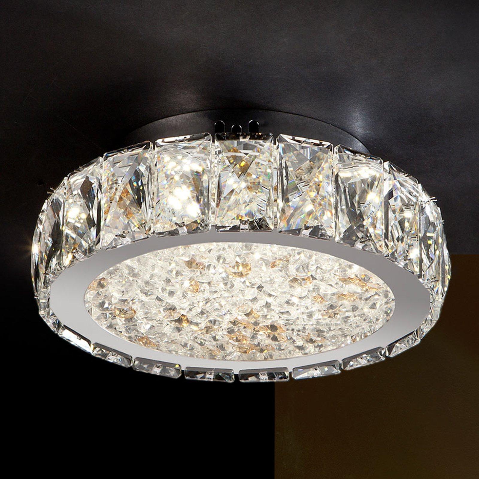 Dana - LED-taklampe med glasskrystaller