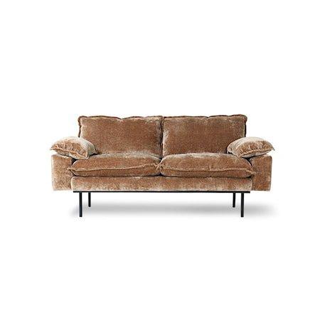 Retro Sofa 2-seter Velvet corduroy aged Gold