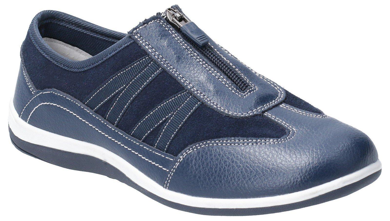 Fleet & Foster Women's Mombassa Leather Trainer Various Colours 29306-49610 - Navy 3