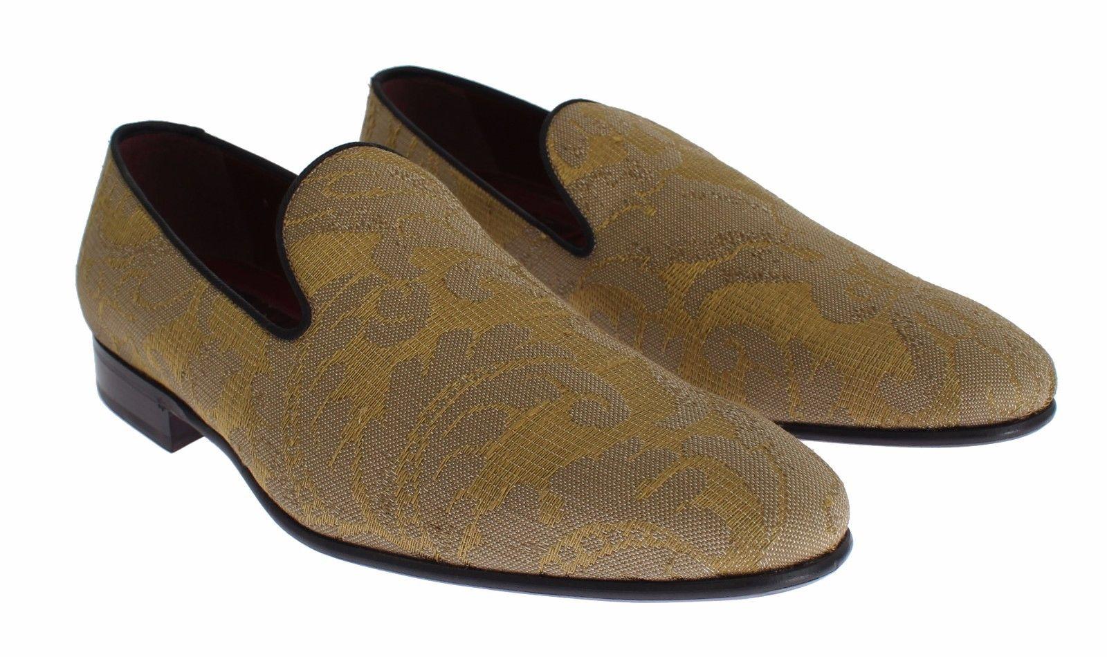 Dolce & Gabbana Men's Silk Baroque Loafers Shoes Gold SIG17169 - EU39/US6