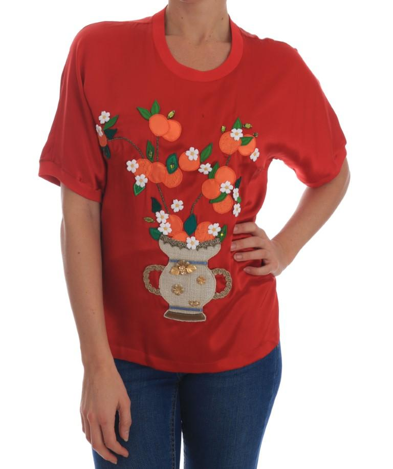 Dolce & Gabbana Women's Silk Floral Crystal T-Shirts Red TSH1931 - IT38 | S